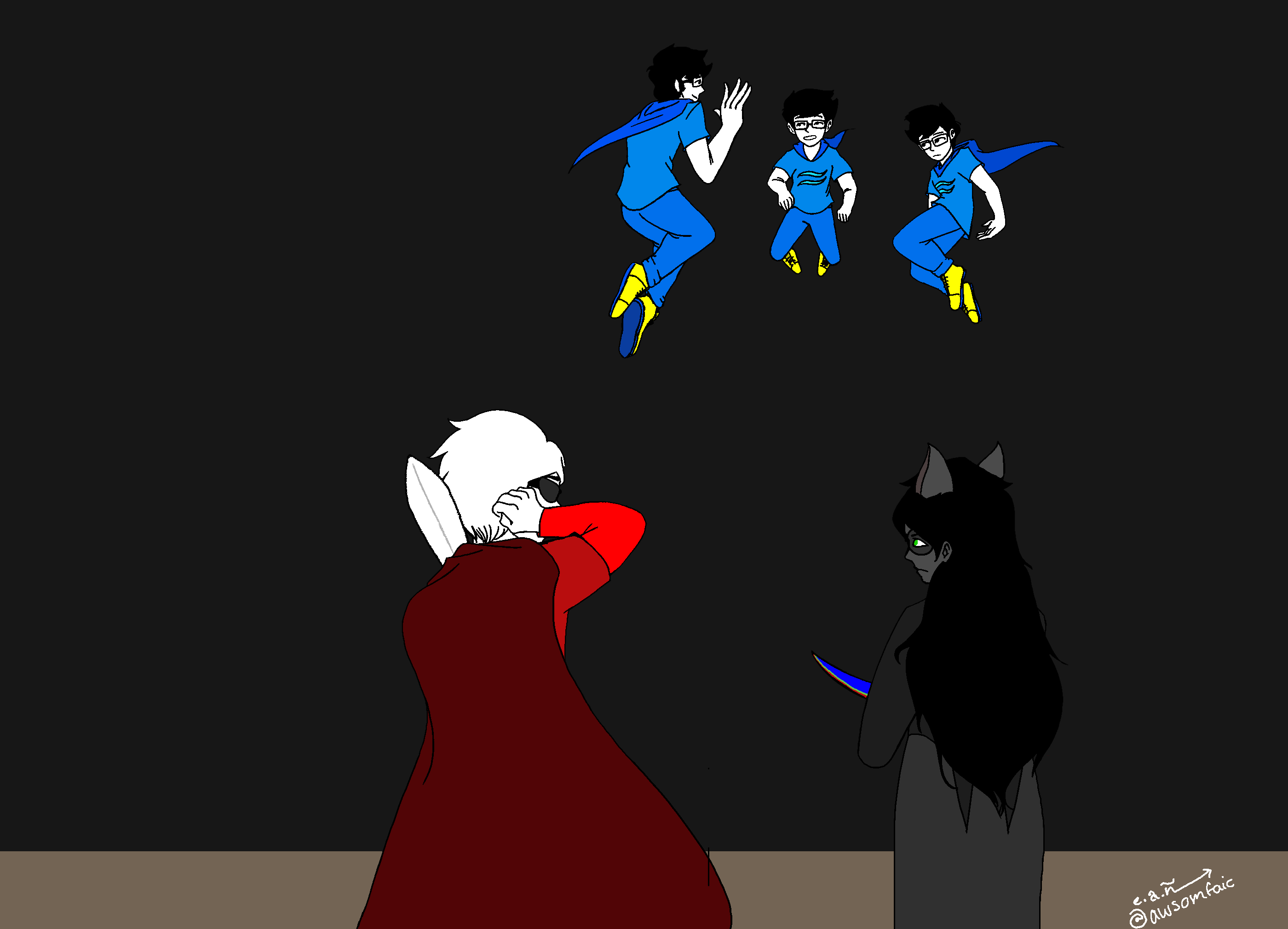 Fanart of a scene in the Homestuck Epilogues